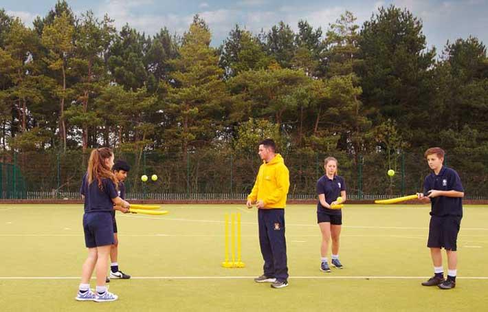 Children cricket practice