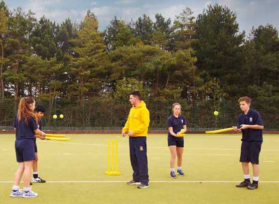 Children at cricket practice