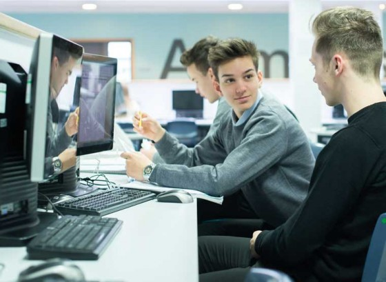 Sixth Formers by computer