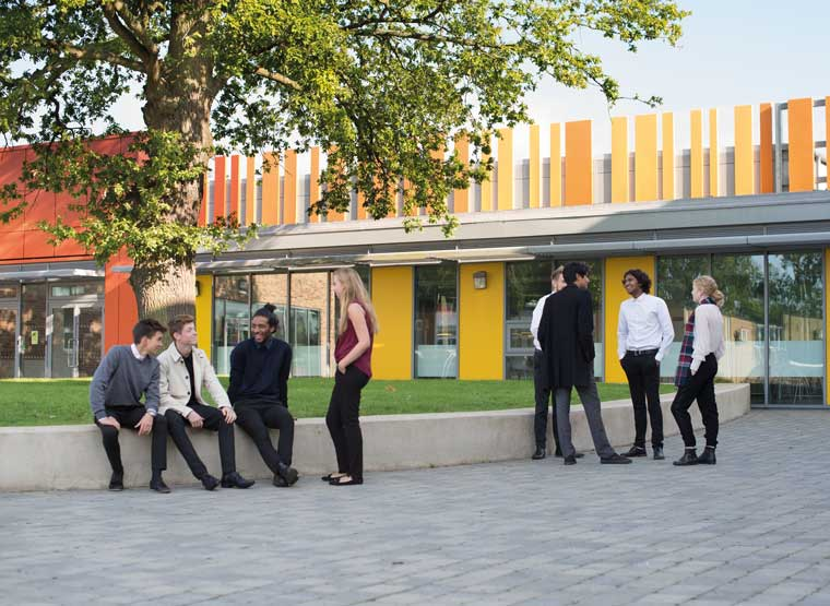 Sixth Formers outside